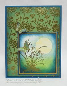 hanfmade card from Stamp & Create With Sabrina ... Artistically Asian ... luv the gold embossing with olive and denim ... beautiful sponged moonlit scene on the ti panel ... chrysanthemums  fill the background ... Stampin' Up!