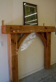 Timber frame mantle Get yours at: www.amazontimberframes.com