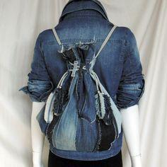 Super unique recycled old jeans backpack, denim backpack.