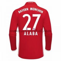 Bayern Munich 2016-17 Alaba 27 Lange Mouw Thuis Tenue Goedkope Voetbalshirts Clubs