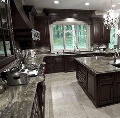 Kitchen - Dark Stain Cabinets, backsplash, window valance