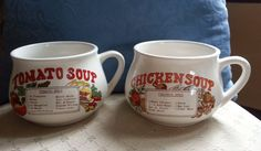 SET OF TWO VINTAGE RECIPE SOUP MUGS CUPS - CHICKEN & TOMATO #Unknown