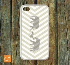 iPhone 4 Case. (Elephants - Chevron) WHITE or BLACK RUBBER Case Body.. $22.00