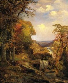 Thomas Moran (1837 - 1926) | Romanticism | On the Wissahickon near Chestnut Hill - 1870