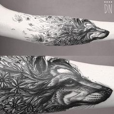Beautiful Wolf Tattoo from Illustrated Monthly!