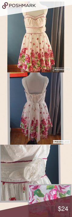 Rose Print Dress with Toole Underlay Beautiful Sun dress features floral rose pattern and flower detail on the hip. Red, pink, and white, this dress is flirty and feminine. Zippers up the back. EUC. My Michelle Dresses
