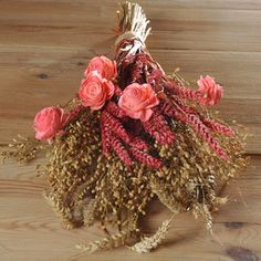 Coral Vintage Artificial Flower Wedding Bridesmaid Bouquet