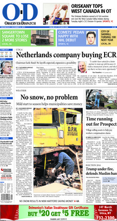The front page for Wednesday, Dec. 9, 2015: No snow, no problem