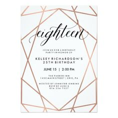 Faux Rose Gold Geometric on White Graduation Party Card - modern gifts cyo gift ideas personalize Wedding Anniversary Invitations, 10th Wedding Anniversary, Baptism Invitations, Card Wedding, Wedding Gifts, Surprise Party Invitations, Graduation Party Invitations, Card Party, 18th Birthday Party