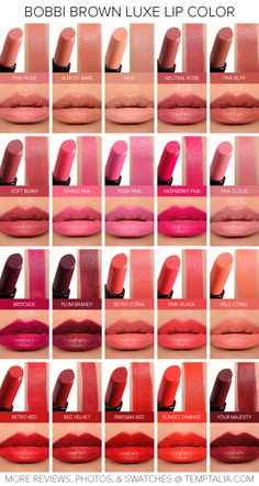 Click to Enlarge Here's a preview of 20 of the new Bobbi Brown Luxe Lip Colors ($35.00 for 0.13 oz.) that you'll find across retailers. There are also nine