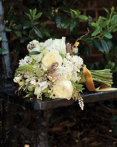 Grace's sophisticated but breezy bouquet, by Garden on the Square, contains 'Polo' roses, lilacs, scabiosa, sweetpeas, jasmine vine, ornithogalum, snowberries, button ferns (painted gold), and ring-necked pheasant plumage.