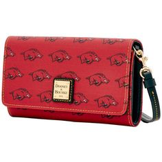 Dooney Bourke NCAA Arkansas Daphne Crossbody Wallet ($59) ❤ liked on Polyvore featuring bags, wallets, red party bags, cross body, red crossbody bag, dooney bourke bags and red wallet