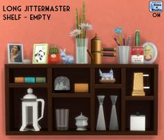 The Sims 4   Orangemittens' EP02 Get Together Long Jittermaster Shelf with 27 Slots   buy mode override display