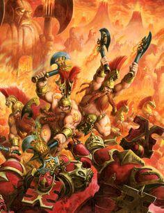 http://wellofeternitypl.blogspot.com/ Age of Sigmar Artwork | Fyreslayers vs Khrone Bloodbound Warriors #artwork #art #aos #warhammer #ageofsigmar #sigmar #arts #artworks #gw #gamesworkshop #wellofeternity #wargaming