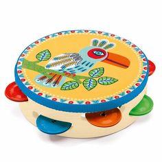 Wooden toy tambourine