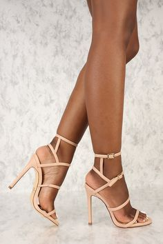 5fba637bd07 Sexy Nude Strappy Criss Cross Open Toe High Heels Faux Leather Patent