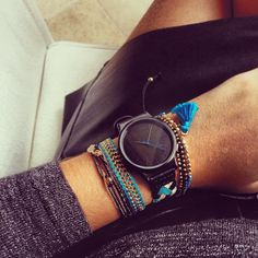 Komono Watch Black Blue Gold Multiple Bracelets