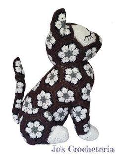 African Flower Crochet Cat