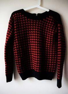 GRUBY czerwono czarny sweter w pepitkę