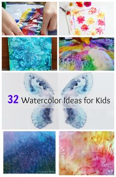 32 Amazing Watercolor Painting ideas for kids!  Such neat and simple watercolour techniques.