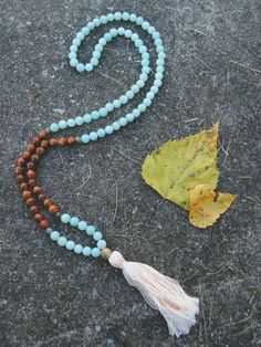 Amazonite Labradorite Bayong Wood & Crazy Lace Agate 108 Bead Mala Necklace Yoga Jewelry Meditation by theMalaSphere