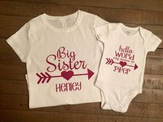 Personalized Big Sister and Hello World My Name Is Shirt Set