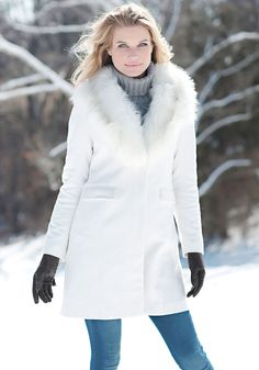 White Faux Wool Knee-Length Coat with Faux Fur Collar   Fabulous-Furs