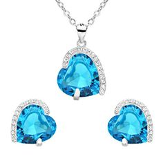 EleQueen 925 Sterling Silver Full Cubic Zirconia Eternal Love Heart Bridal Pendant Necklace Stud Earrings Set Aquamarine Color *** Read review @