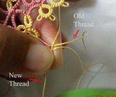Tat-a-Renda: How to add New Thread Without Tying a Knot Tatting Jewelry, Tatting Lace, Tatting Bracelet, Needle Tatting Tutorial, Tutorial Crochet, Shuttle Tatting Patterns, Bobbin Lace, Needle Lace, Crochet Bookmarks