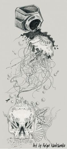 Jellyfish tattoo on sketch (on paper) graphics by Olga Aleksandrovna