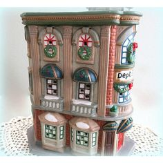 Christmas Village Building Snow Village Figurine Lighted Village... ($43) ❤ liked on Polyvore featuring home, home decor and holiday decorations