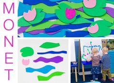 Foam shapes - to create Monet's garden with water lilies, arTree art project for preschoolers
