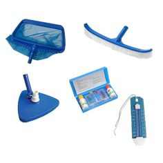 5-Piece Deluxe Swimming Pool (Blue) Kit - Vacuum Leaf Rake Brush Thermometer and Test Kit