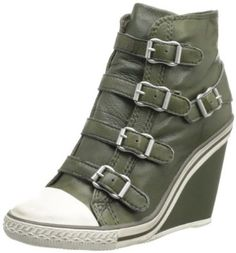 Army green leather sneaker wedges. Military girly edgy perfection.