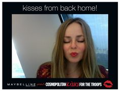 #KissesForTheTroops from Cosmopolitan.com social media editor @elisabenson! Send your own virtual postcard at cosmopolitan.com/kisses