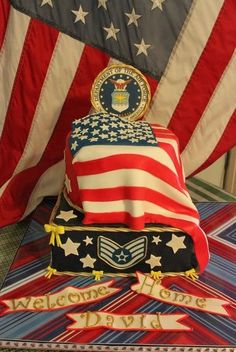 Thank someone special for their service with this custom cake idea!