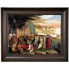 "Historic Art Gallery 'Penn's Treaty with the Indians' Framed Print on Canvas Format: Dark Gray Framed, Size: 15.5"" H x 19.5"" W x 1.5"" D"
