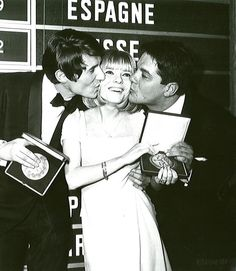 Udo Jürgens, winner of the Eurovision Song Contest 1966 in Luxembourg for Austria (winner ceremony with previous year´s winner France Gall and author Thomas Hörbiger)