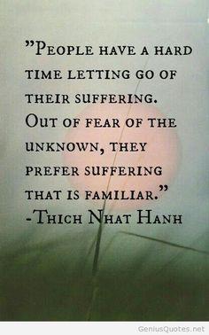 """""""A la gente le cuesta mucho trabajo dejar ir su sufrimiento. Por miedo a lo desconocido, prefieren el sufrimiento por que les es familiar """". Thich Nhat Hanh"""