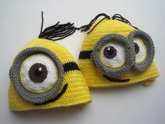 Minion inspired crochet hats 'little cousins'