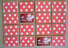Personalized Matching Game - Mod Podge, wood, scrapbook paper, and pictures. Would work great with alphabet and teaching name spelling too.