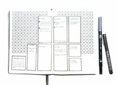 Bullet journal weekly layout,  geometric design drawing,  weekly task list.  | @plain.planner
