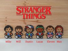 Stranger Things series characters (Mike, Will, Dustin, Lucas, Eleven, Max) Creations made with beads (Hama) d ø5 mm assembled by hand, then ironed on both sides so that the product are much stronger. Also available in magnet. Designs measure approximately 11.5 cm in height and 7.5 cm in
