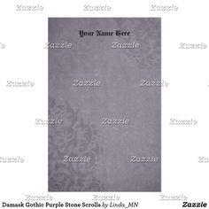 Damask Gothic Purple Stone Scrolls Stationery