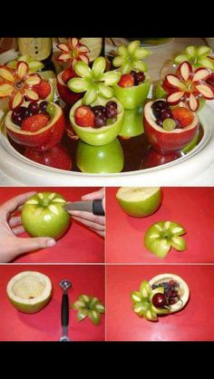 Apple dessert with fruits. Healthy desserts for Christmas or children / kids party