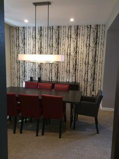 Modern dining room with aspen tree (silver birch) wallpaper - Arcturus Studio Interior Design