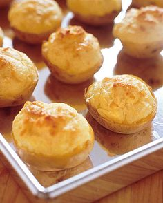 Twice-Baked Potatoes with Gruyere  Cottage cheese may seem like an unusual choice, but it adds a tangy flavor similar to that of sour cream. The potatoes can be prepared through step 4 up to a day ahead; refrigerate, covered, until ready to proceed.