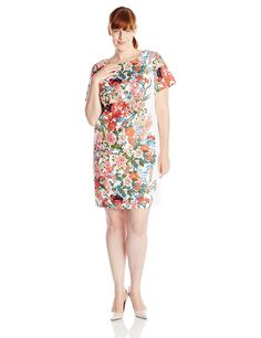 Adrianna Papell Women's Plus-Size Short Sleeve Floral Printed Shift Dress, Ivory/Multi, 22W