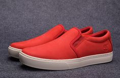 red leather timberland slip-on shoe for men