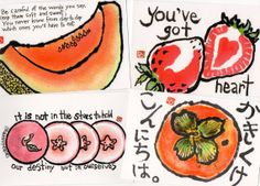 Luscious Fruit Postcards- set of 4 (etegami prints)